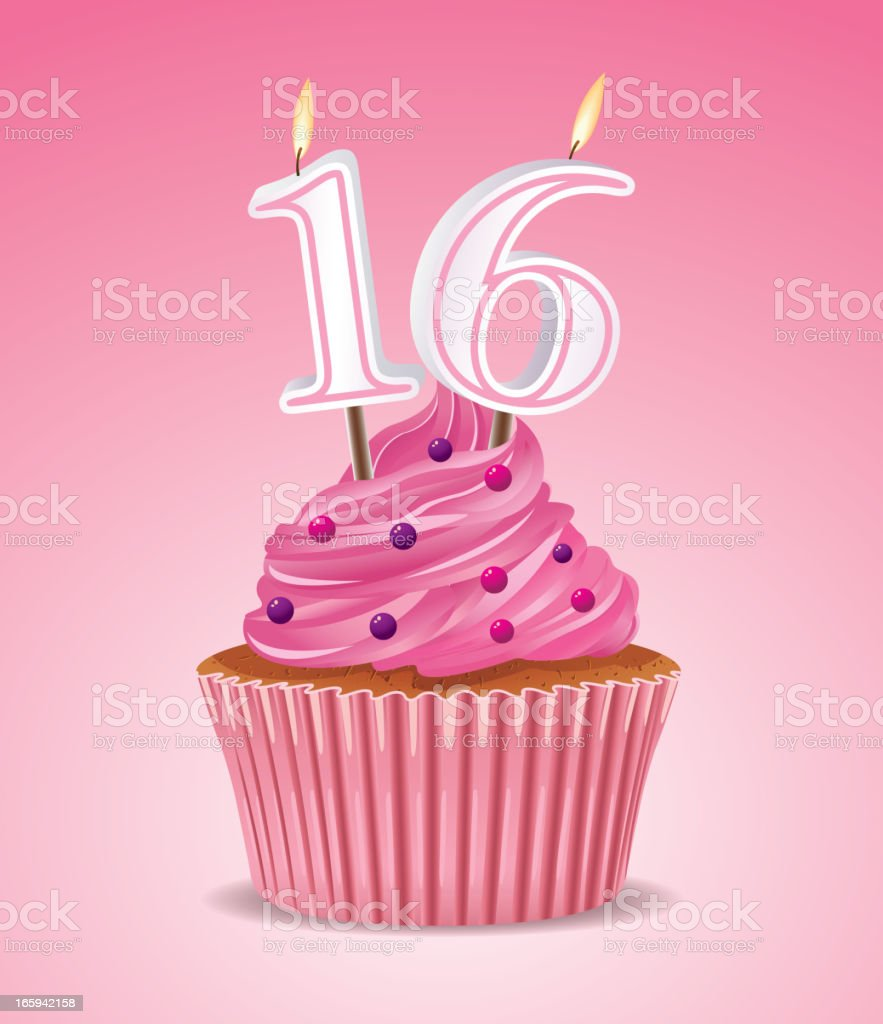 Sweet sixteen cupcake vector art illustration