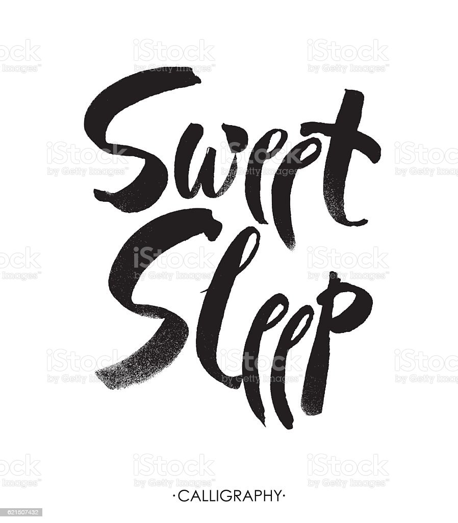 Sweet sleep card. Hand drawn lettering vector art. Modern  calligraphy. Lizenzfreies sweet sleep card hand drawn lettering vector art modern calligraphy stock vektor art und mehr bilder von abstrakt