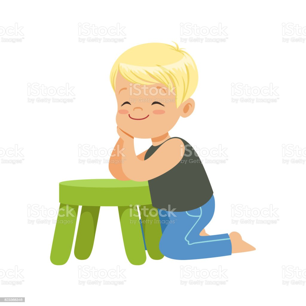 Admirable Sweet Smiling Little Boy Sitting On The Floor Leaning On A Gmtry Best Dining Table And Chair Ideas Images Gmtryco