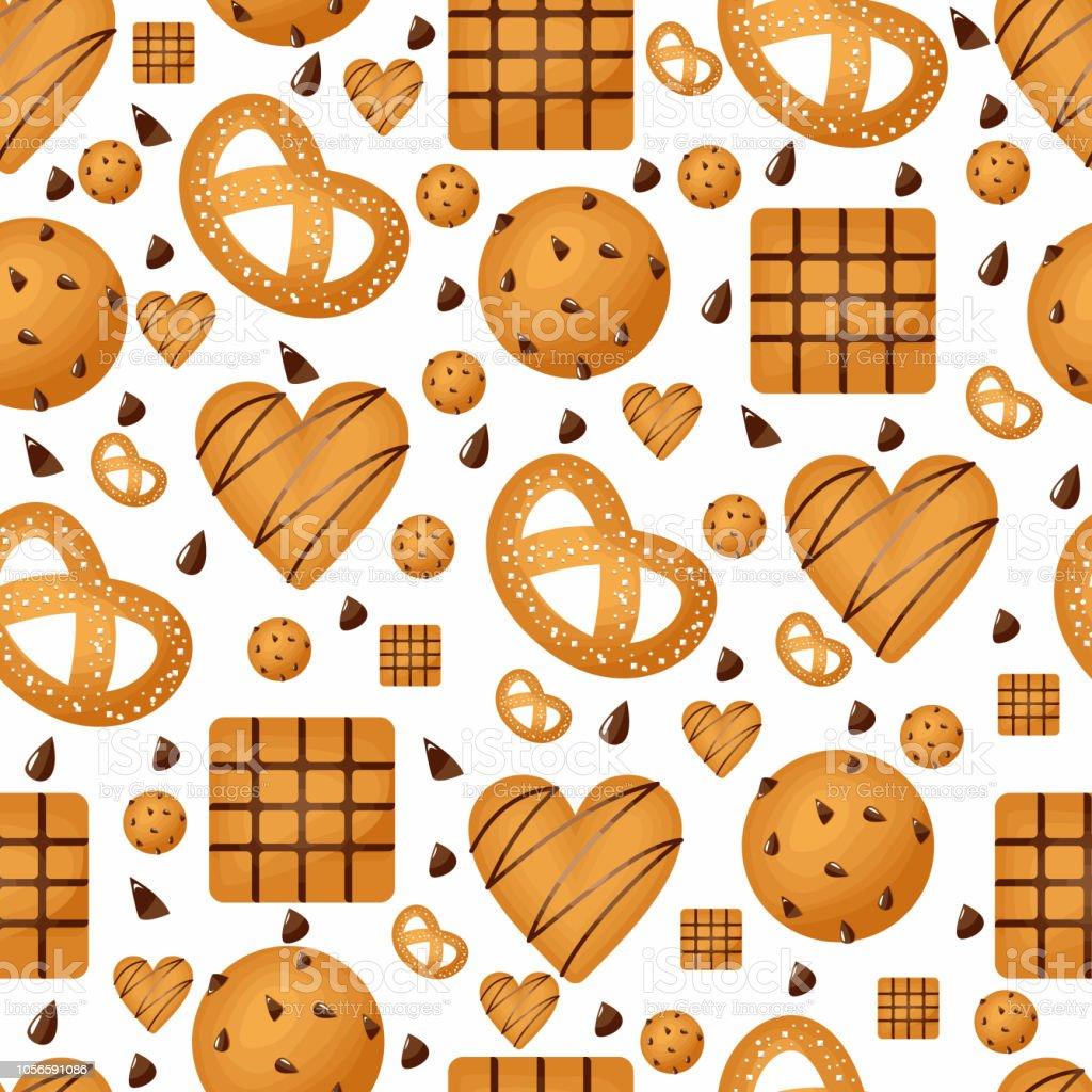 甘いおやつのシームレスなパターン クッキー壁紙再現性のあります