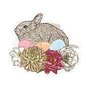 Line artwork of a sweet little brown rabbit crouched among flowers for spring or easter. Easy to change colours, grouped to layers.