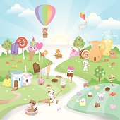It's summer time in Candyland! Come join it's cute inhabitants in a land where rivers are made of sweet milk, houses have funny shapes and all kinds of sweet things grow in fields and in trees. The ice cream is melting so come quick :)