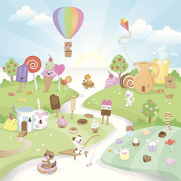 Sweet summer candy paradise vector art illustration