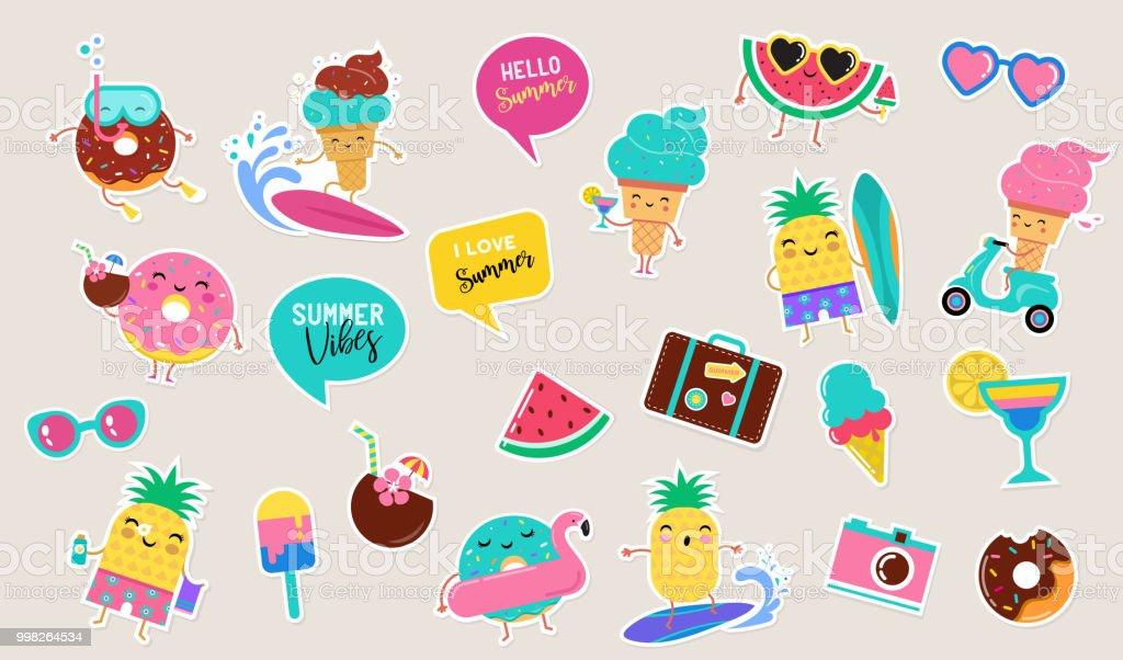 甘い夏のかわいいアイス クリームスイカとドーナツのステッカー イラスト