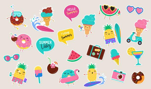 sweet summer - cute ice cream, watermelon and donuts sticker illustrations, vector design - naklejka stock illustrations
