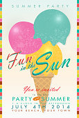 Retro summer party invitation with ice cream cone and scoops. Features soft background, and colorful bars on each side. Sample text design and 'Fun in the Sun' script. Easy to edit with color scheme and layout elements on a separate layer. Summer fun, party for children's events. Company picnic celebration or private family gathering for your summer event.