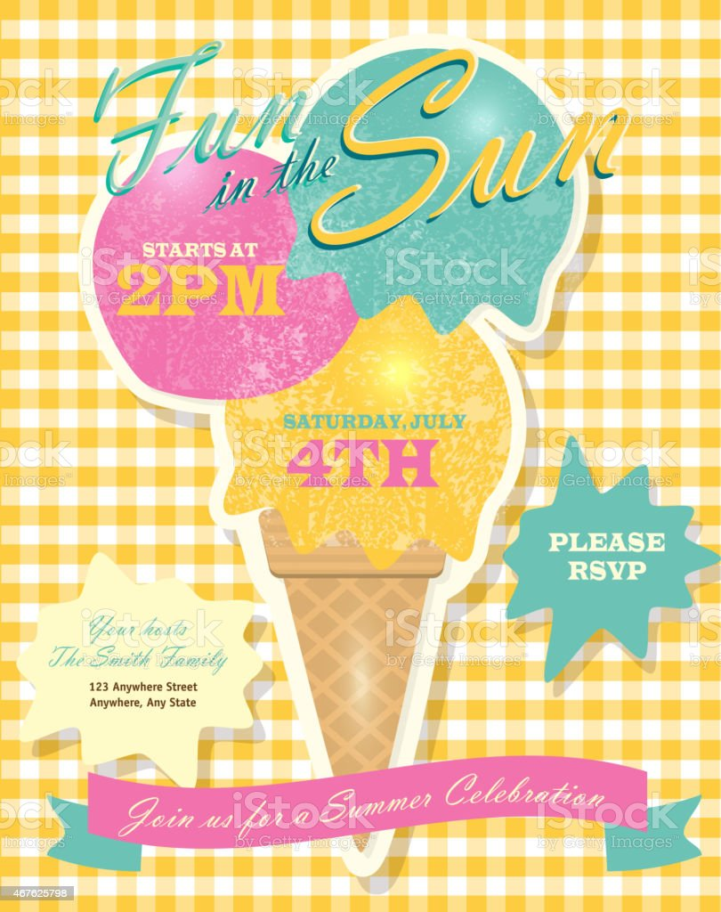 Sweet Summer Party Template Invitation Design With Ice Cream Cone ...