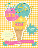 Retro summer party invitation with ice cream cone and scoops. Features soft background, bright yellow checkered tablecloth and ribbon. Sample text design and 'Fun in the Sun' script. Easy to edit with color scheme and layout elements on a separate layer. Summer fun, party for children's events. Company picnic celebration or private family gathering for your summer event.