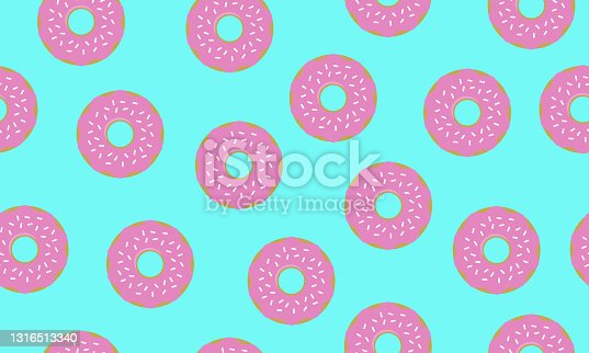 istock Sweet summer seamless pattern with donuts vector illustrations 1316513340