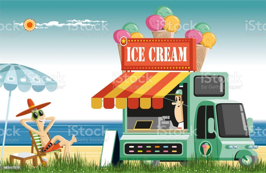 Tatlı yaz saati ve dondurma - Royalty-free ABD Vector Art