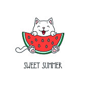 Kawaii illustration of a cute cat sitting with a watermelon in his paws. Vector 8 EPS.