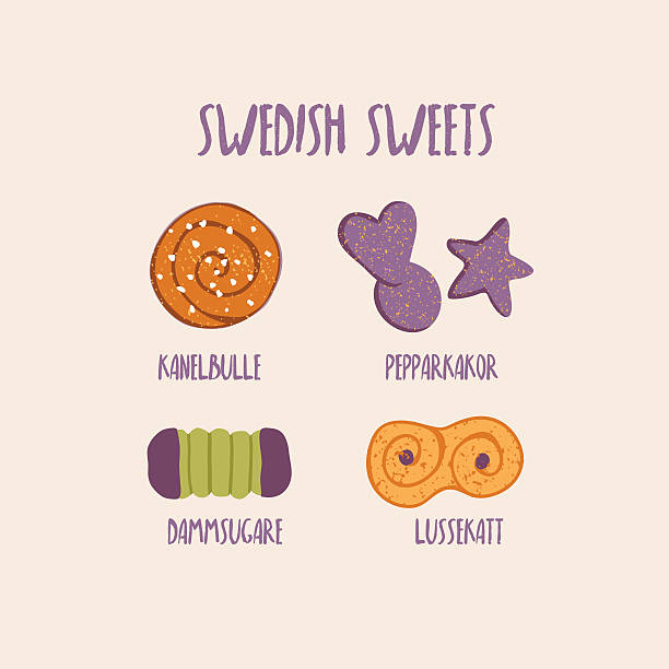 sweet swedish bakes - cinnamon bun, gingerbread and other - cinnamon roll stock illustrations, clip art, cartoons, & icons