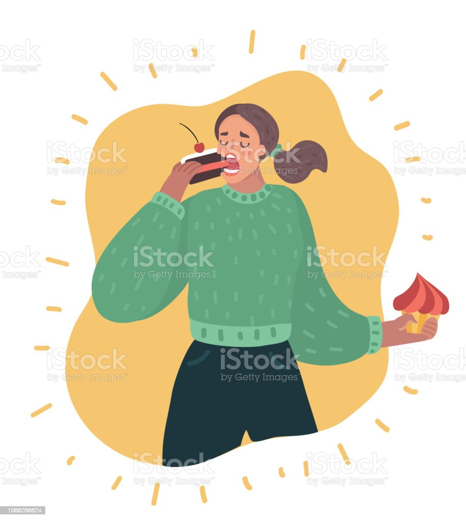 Sweet tooth lady vector art illustration
