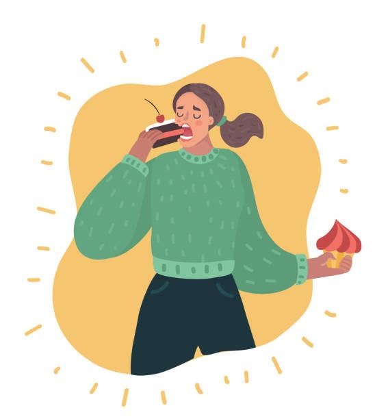 ilustrações de stock, clip art, desenhos animados e ícones de sweet tooth lady - eating