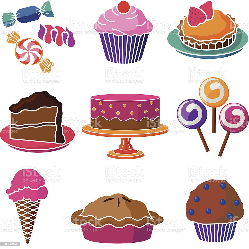 sweet treats vector art illustration