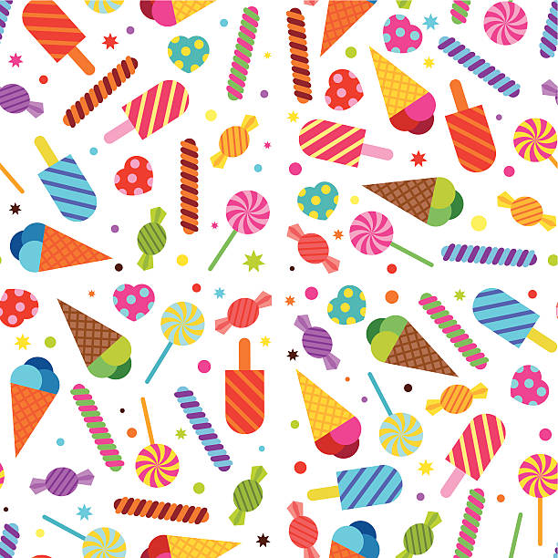 Sweet Treats Wallpaper (Seamless) Seamless wallpaper background featuring sweets, treats, candy and icecreams. candy patterns stock illustrations