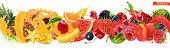Sweet tropical fruits and mixed berries. Splash of juice. Watermelon, banana, pineapple, strawberry, orange, mango, blueberry, cherry, raspberry, papaya. 3d vector realistic set. High quality 50mb eps