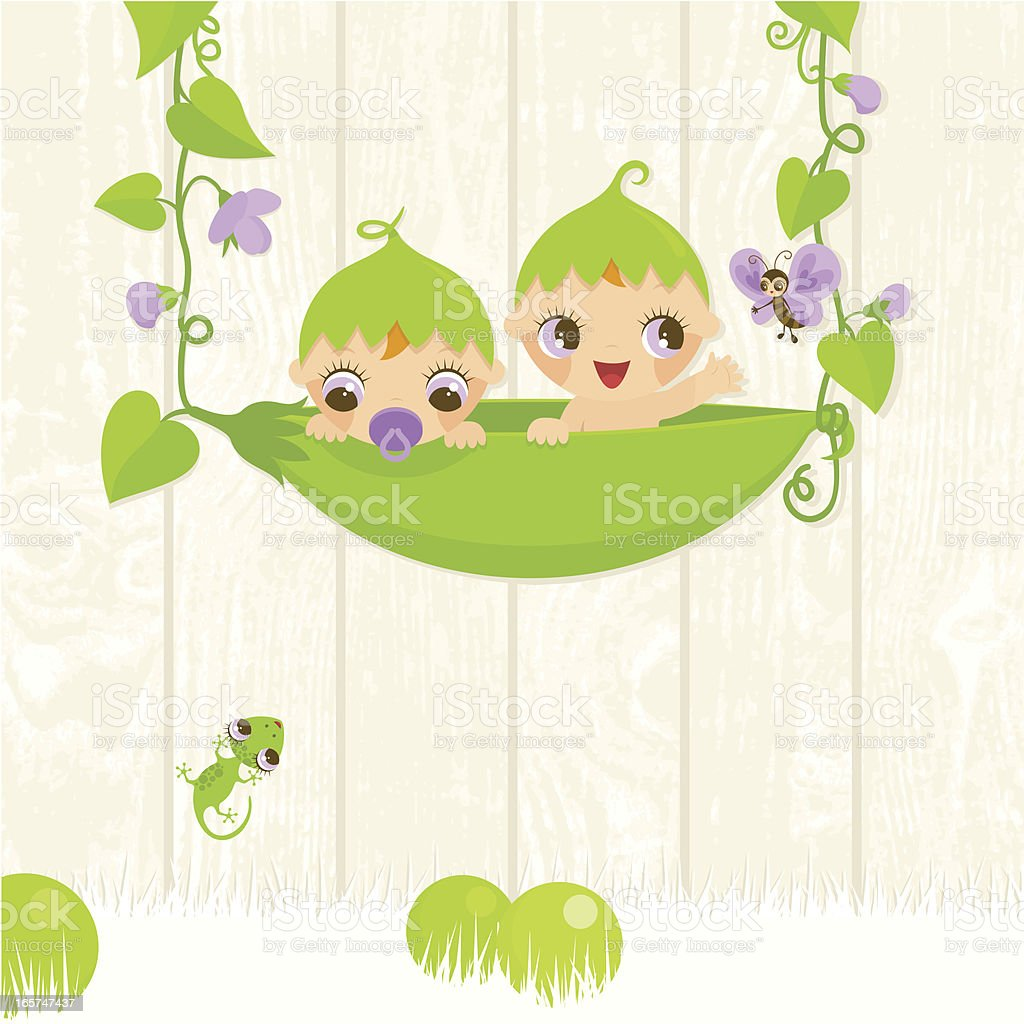 Sweet twins in a pod vector art illustration