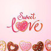 Sweet Love lettering and Group of heart shaped donuts coated with colorful sprinkles on pink colored background for the Valentine's Day