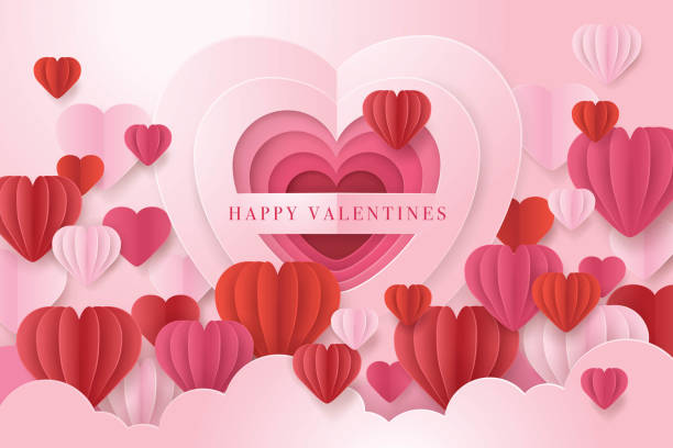 Sweet Valentine`s day card, Red and white Balloon Sweet Valentine`s day card, Red and white Balloon in Heart Shape Paper Cut, Happy Valentines & Mothers Day, Abstract Heart Background, Paper art vector boyfriend stock illustrations
