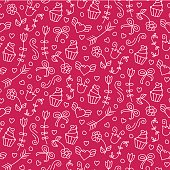 Sweet vector seamless pattern with hearts, cupcakes, flowers, bows. Cute endless background