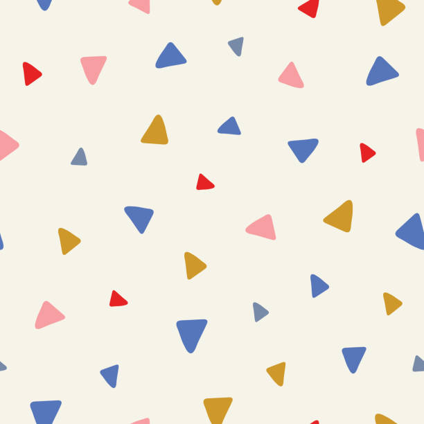 Sweet vector seamless repeat pattern of tossed hand drawn triangles in pink, red, blue and yellow. A fun random repeat design background. Sweet vector seamless repeat pattern of tossed hand drawn triangles in pink, red, blue and yellow. A fun modern random repeat design background. book backgrounds stock illustrations