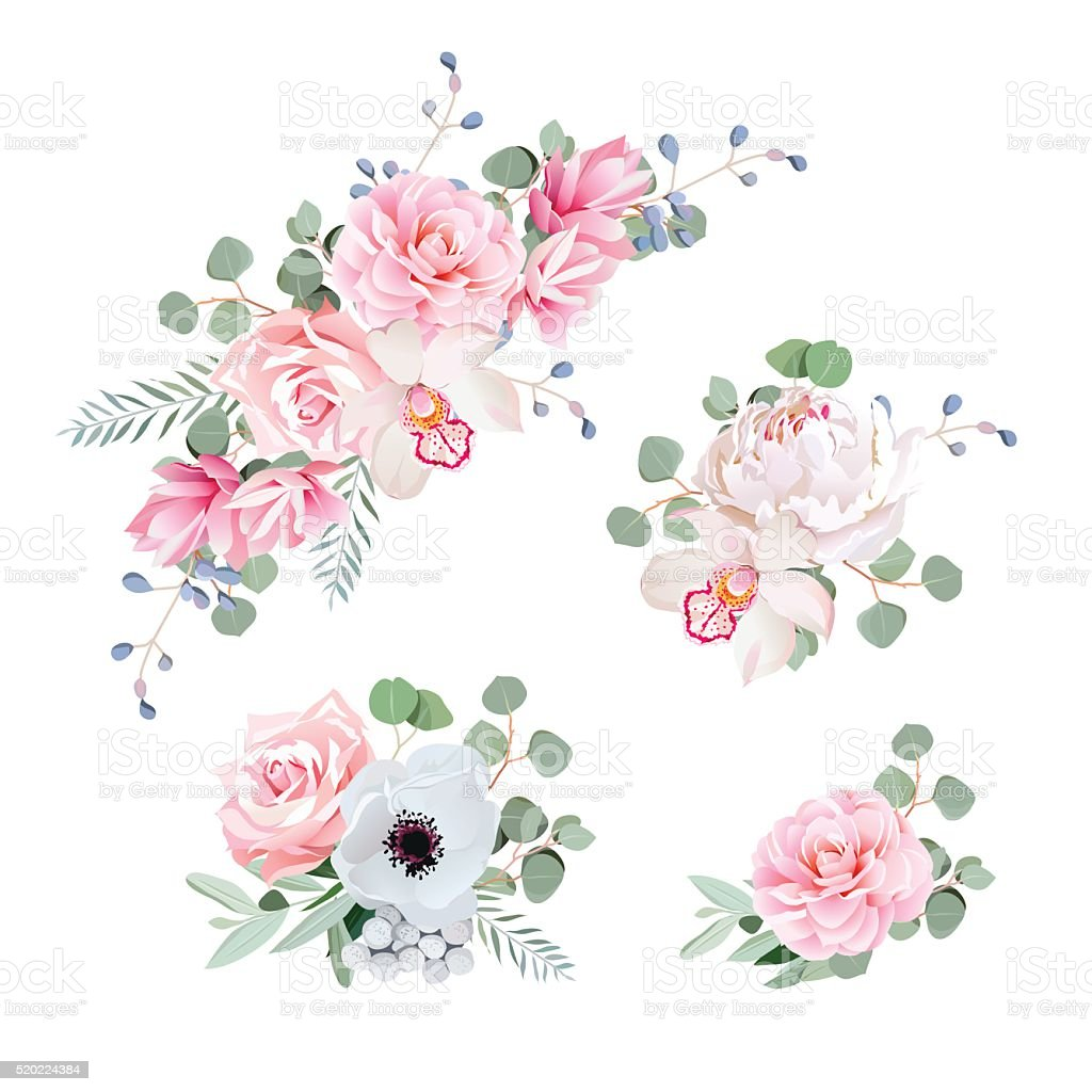 Sweet wedding bouquets of rose, peony, orchid, anemone, camellia vector art illustration