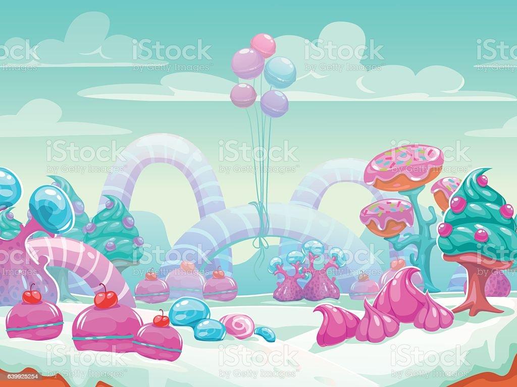 Sweet world cartoon vector art illustration