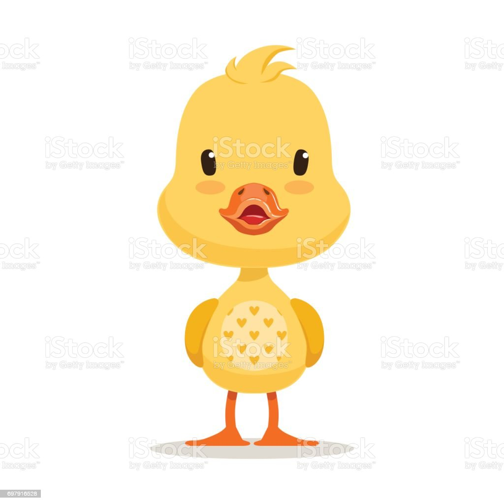 Sweet yellow duckling, emoji cartoon character vector Illustration vector art illustration