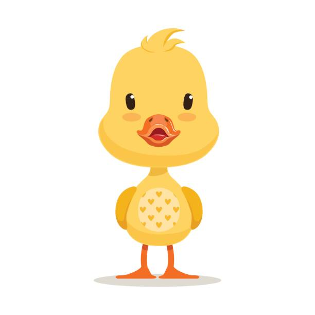 Sweet yellow duckling, emoji cartoon character vector Illustration Sweet yellow duckling, emoji cartoon character vector Illustration isolated on a white background duckling stock illustrations