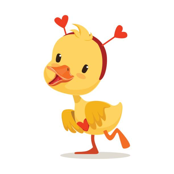 Sweet yellow duckling in a red headband with hearts, emoji cartoon character vector Illustration Sweet yellow duckling in a red headband with hearts, emoji cartoon character vector Illustration isolated on a white background duckling stock illustrations
