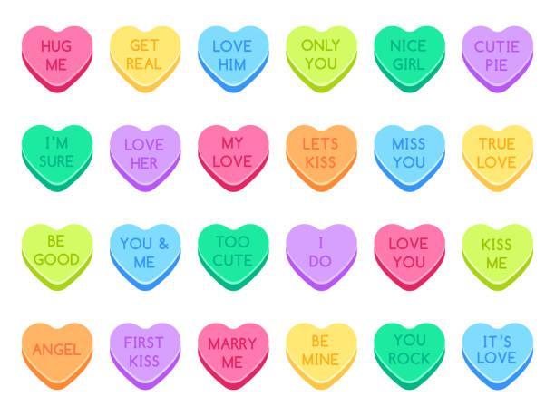 ilustraciones, imágenes clip art, dibujos animados e iconos de stock de dulces de amor. dulces de corazón dulce, dulces san valentín y la conversación amor corazones caramelos conjunto de ilustración vectorial plana - couple