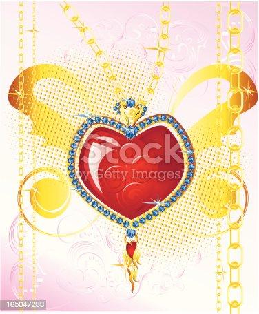 Detalised vector illustration of heart-shaped jewelry