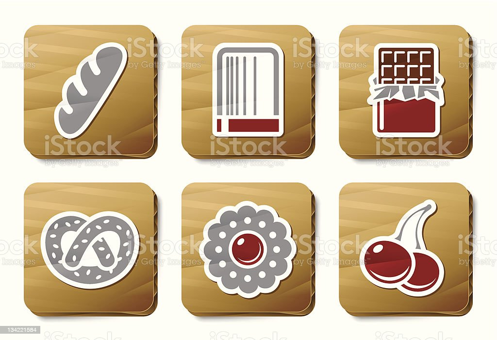 Sweeties and Bakery icons   Cardboard series royalty-free sweeties and bakery icons cardboard series stock vector art & more images of baked pastry item