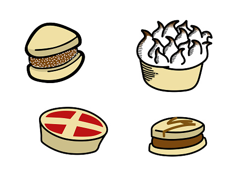 Sweets, alfajor, pastry, lemon pie, milk caramel, dulce de leche. Color hand drawn style vector illustration.