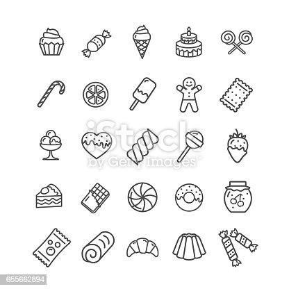 Sweets and Bakery Icon Black Thin Line Set Ready for Your Business. Vector illustration