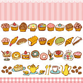 Set of sweets and bakes.