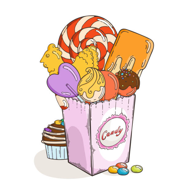 Sweets and candies in paper box. Muffin and chocolate vector art illustration