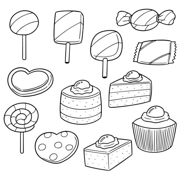 süßigkeiten und bonbons - tortenriegel stock-grafiken, -clipart, -cartoons und -symbole
