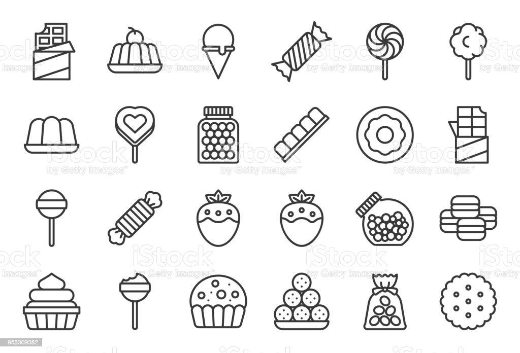 Dulces e icono de caramelo 1/2, conjunto de iconos de línea - ilustración de arte vectorial