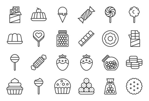 Sweets and candy icon set 1/2, line icon set Sweets and candy icon set 1/2, line icon set candy icons stock illustrations