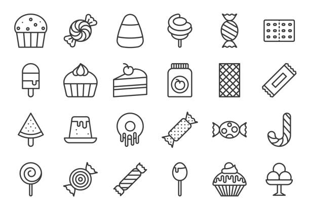 Sweets and candy icon set 2/2, line icon set vector art illustration