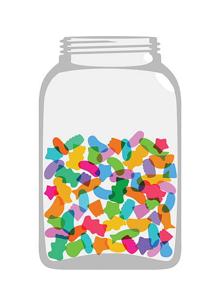 sweets and candy jar - gummibonbon stock-grafiken, -clipart, -cartoons und -symbole
