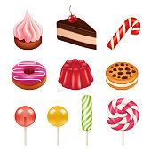 Sweets and candy pictures. Objects from sugar, dulce caramel candy and chocolate sweets vector illustrations isolate