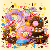 Stylish sweets and desserts poster. Decorative abstract background