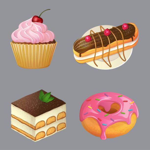 süßspeisen und desserts, cartoon-vektor-illustration - tiramisu stock-grafiken, -clipart, -cartoons und -symbole