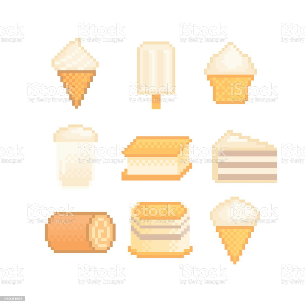 Sweets And Desserts With Vanilla Flavor Icon Set Isolated