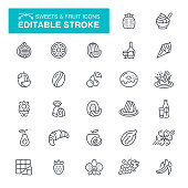 Sweets, Fruit, Candy, Chocolate, Editable Stroke Icon Set