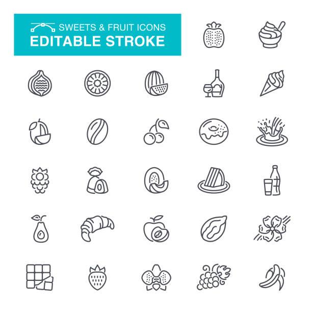 süßigkeiten und obst editierbare schlaganfall icons - tiramisu stock-grafiken, -clipart, -cartoons und -symbole
