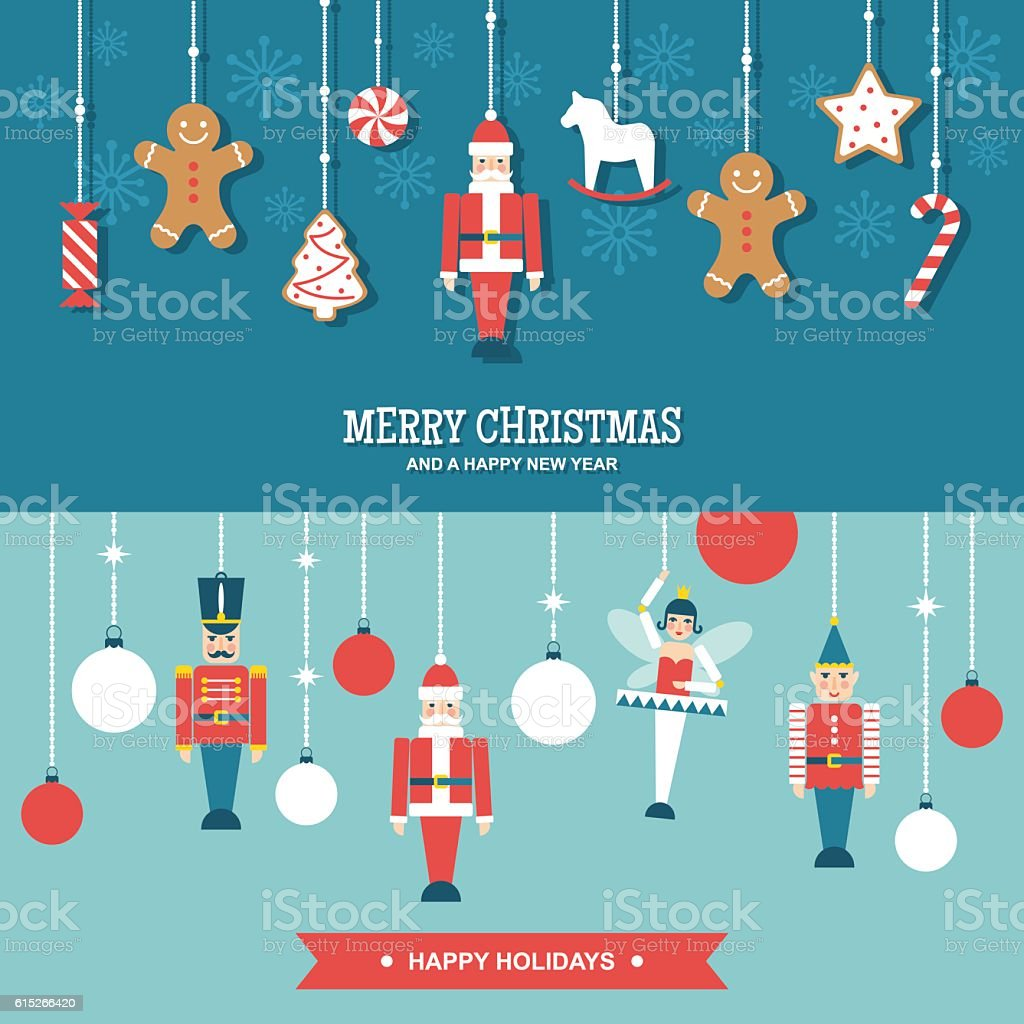 Sweets and toys christmas ornaments flat vector banners Vector banners/illustrations set of Christmas and winter holidays decorations with toys and sweets in simple modern design. Ballet stock vector